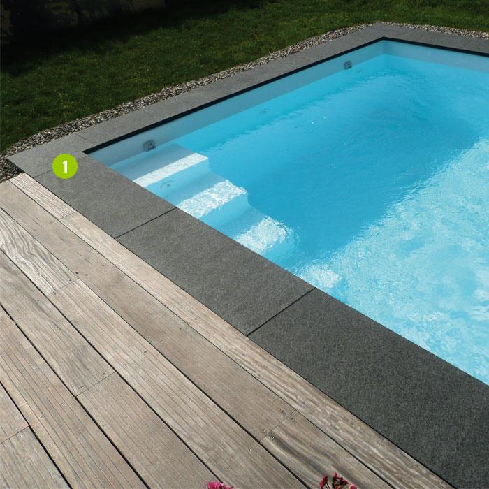 Margelle d 39 angle granit dalles pav s opus parement palissades pas japonais couvertines - Margelle noire pour piscine ...