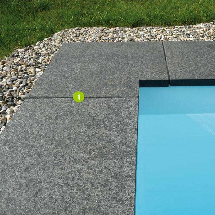 Margelle d 39 angle granit 2 dalles pav s opus parement palissades pas japonais couvertines - Margelle noire pour piscine ...