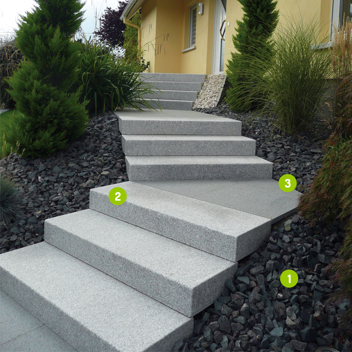 Marches blocs granit gris fonc dalles pav s opus for Escalier paysager